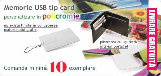 Memorii USB tip card personalizate in policromie